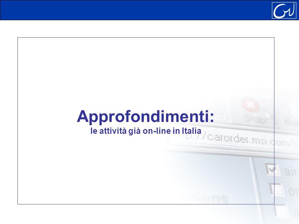 Approfondimenti: le attività già on-line in Italia