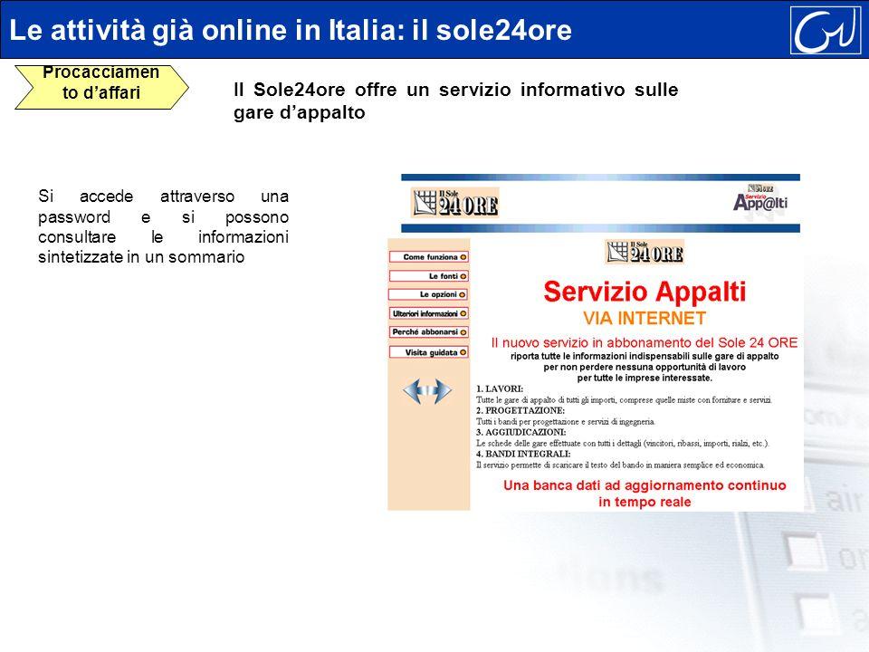 Si accede attraverso una password e si possono consultare le informazioni sintetizzate in un sommario Le attività già online in Italia: il sole24ore P