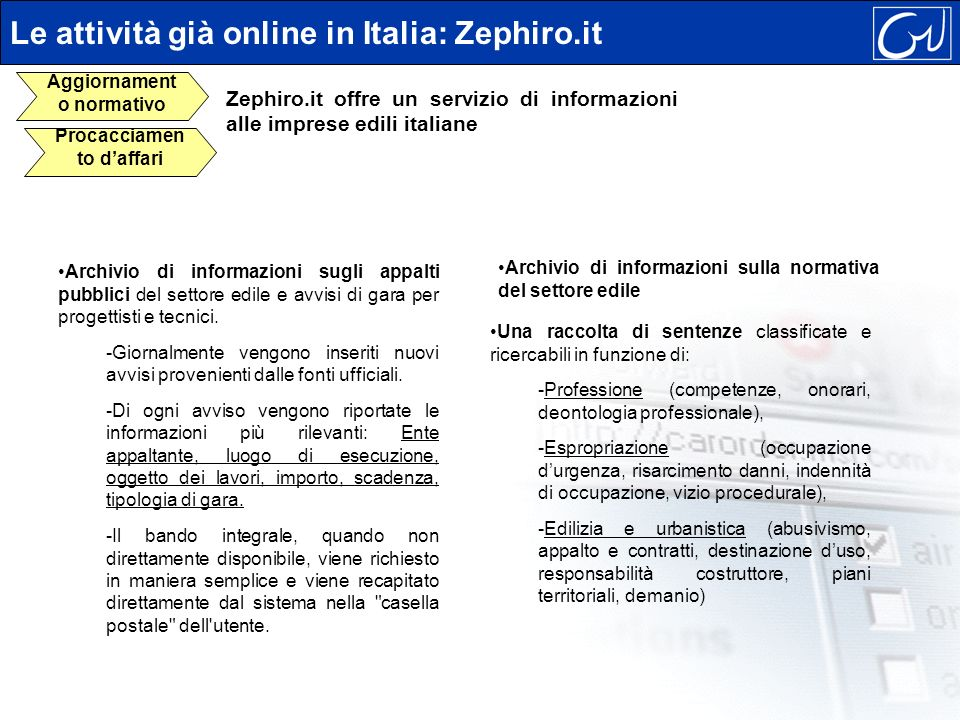 Zephiro.it offre un servizio di informazioni alle imprese edili italiane Archivio di informazioni sugli appalti pubblici del settore edile e avvisi di