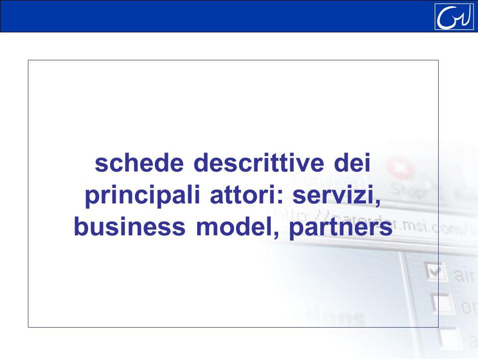 schede descrittive dei principali attori: servizi, business model, partners