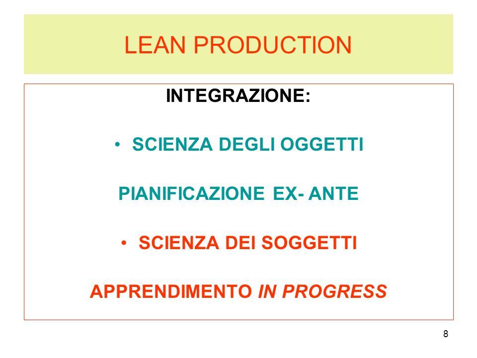 8 LEAN PRODUCTION INTEGRAZIONE: SCIENZA DEGLI OGGETTI PIANIFICAZIONE EX- ANTE SCIENZA DEI SOGGETTI APPRENDIMENTO IN PROGRESS