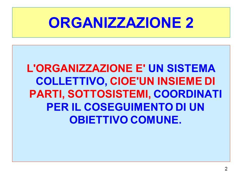 2 ORGANIZZAZIONE 2 L ORGANIZZAZIONE E UN SISTEMA COLLETTIVO, CIOE UN INSIEME DI PARTI, SOTTOSISTEMI, COORDINATI PER IL COSEGUIMENTO DI UN OBIETTIVO COMUNE.