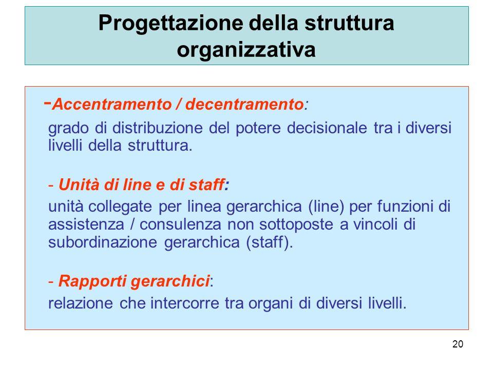 20 Progettazione della struttura organizzativa - Accentramento / decentramento: grado di distribuzione del potere decisionale tra i diversi livelli della struttura.
