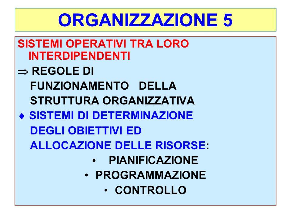 5 ORGANIZZAZIONE 5 SISTEMI OPERATIVI TRA LORO INTERDIPENDENTI REGOLE DI FUNZIONAMENTO DELLA STRUTTURA ORGANIZZATIVA SISTEMI DI DETERMINAZIONE DEGLI OBIETTIVI ED ALLOCAZIONE DELLE RISORSE: PIANIFICAZIONE PROGRAMMAZIONE CONTROLLO