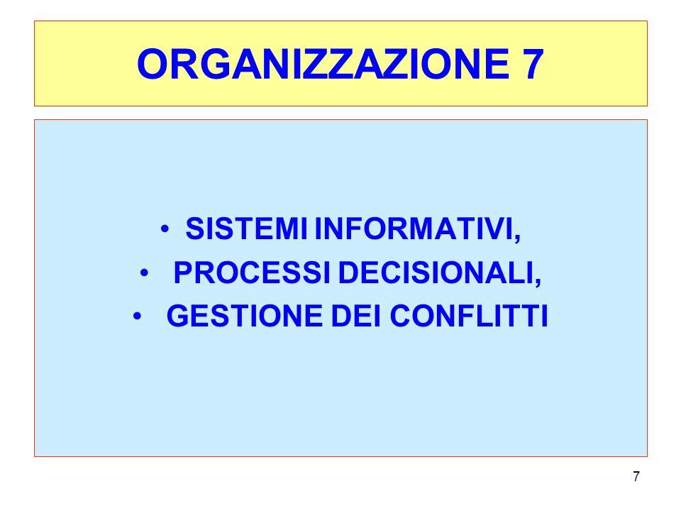 7 ORGANIZZAZIONE 7 SISTEMI INFORMATIVI, PROCESSI DECISIONALI, GESTIONE DEI CONFLITTI
