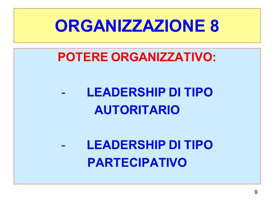 10 ORGANIZZAZIONE 9 L INSIEME COORDINATO DELLE VARIABILI ORGANIZZATIVE SOPRA RICHIAMATE CI FA CAPIRE LA STRUTTURA, MA ANCHE IL SUO FUNZIONAMENTO.