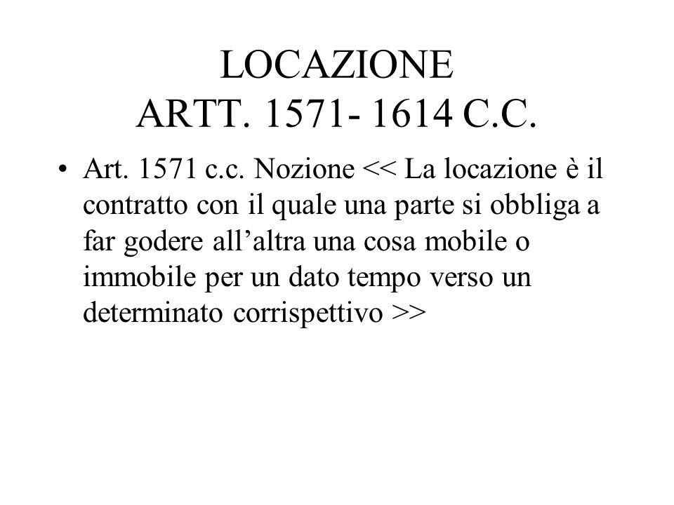 LOCAZIONE ARTT. 1571- 1614 C.C. Art. 1571 c.c. Nozione >