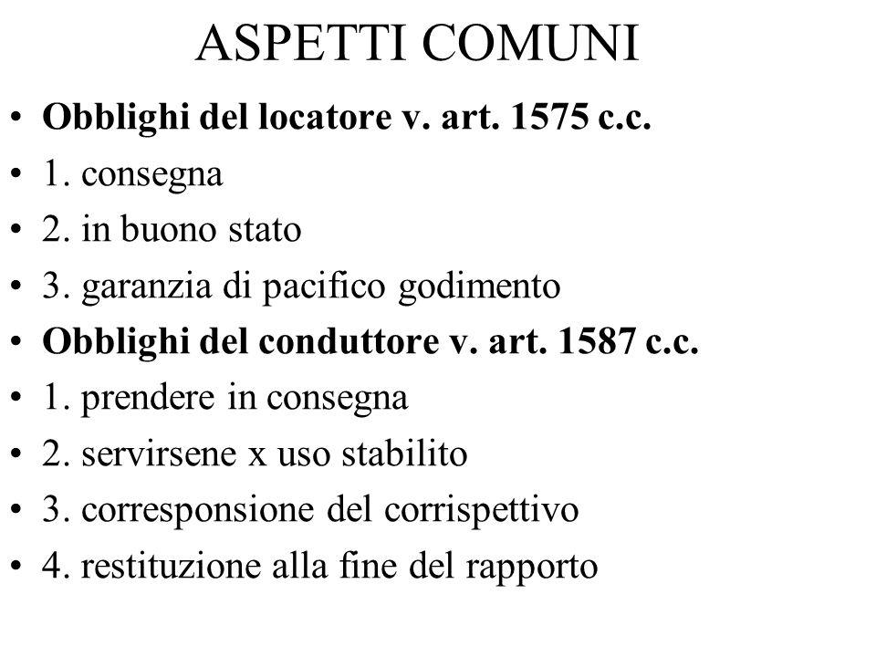 ASPETTI COMUNI Obblighi del locatore v. art. 1575 c.c. 1. consegna 2. in buono stato 3. garanzia di pacifico godimento Obblighi del conduttore v. art.