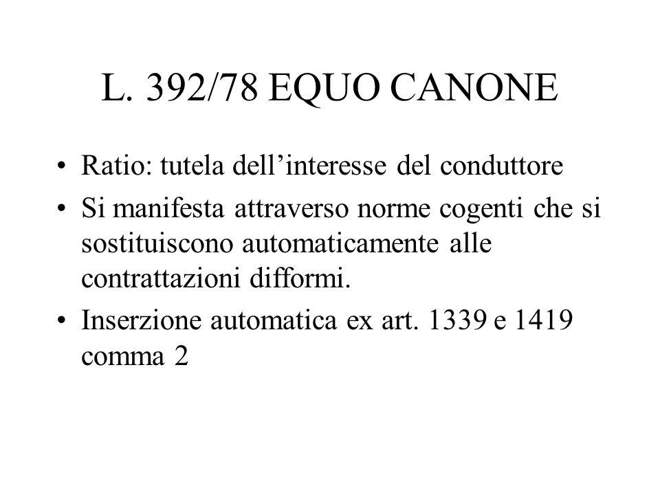 L. 392/78 EQUO CANONE Ratio: tutela dellinteresse del conduttore Si manifesta attraverso norme cogenti che si sostituiscono automaticamente alle contr