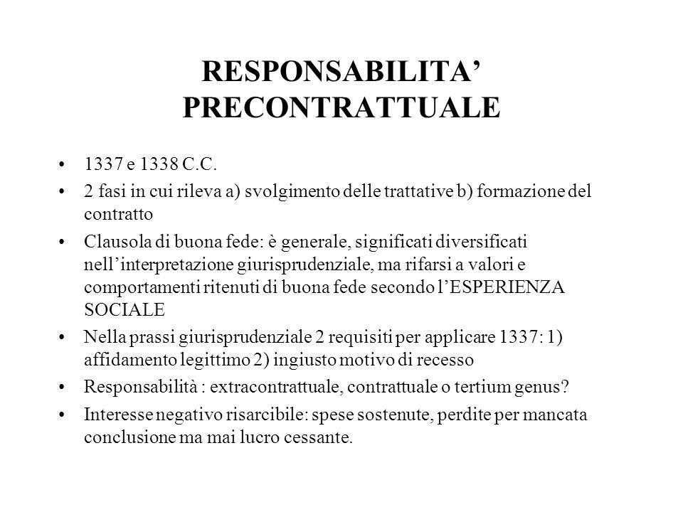 RESPONSABILITA PRECONTRATTUALE 1337 e 1338 C.C. 2 fasi in cui rileva a) svolgimento delle trattative b) formazione del contratto Clausola di buona fed