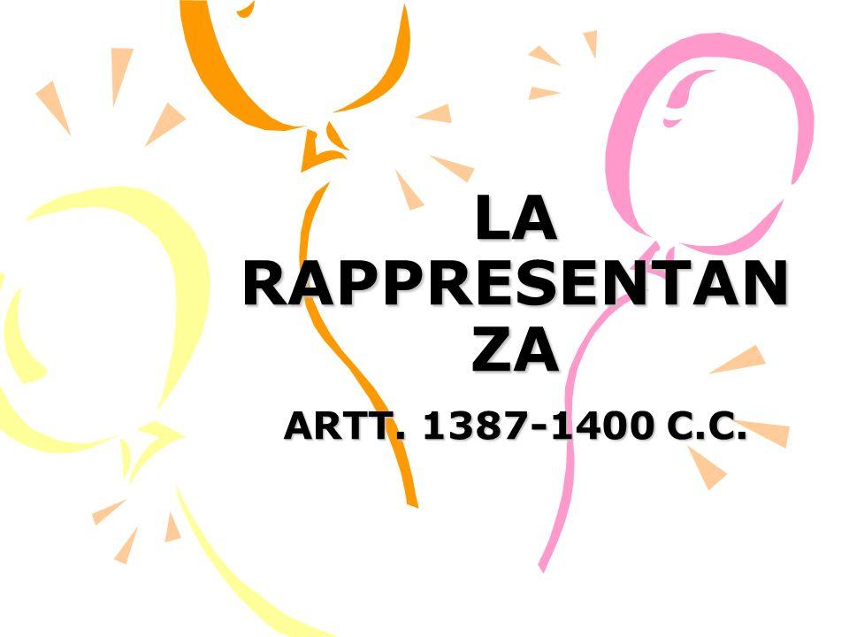 LA RAPPRESENTAN ZA ARTT. 1387-1400 C.C.