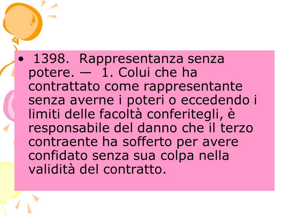 1398.Rappresentanza senza potere. 1.
