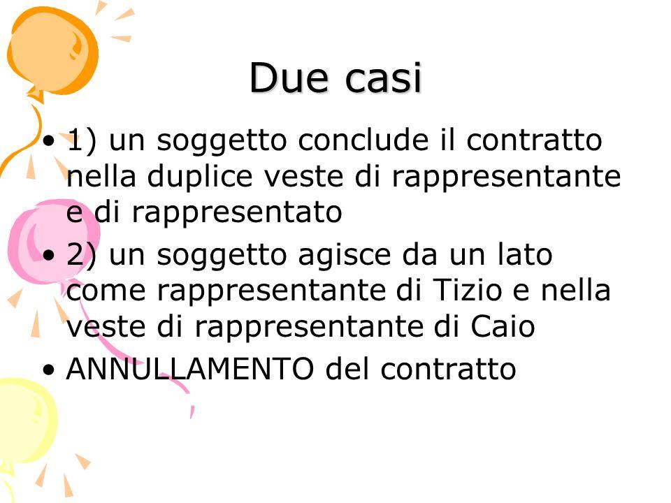 Due casi 1) un soggetto conclude il contratto nella duplice veste di rappresentante e di rappresentato 2) un soggetto agisce da un lato come rappresen