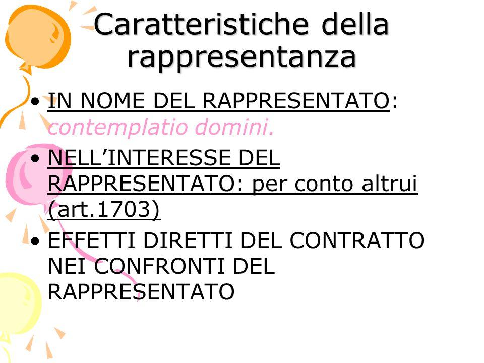 Caratteristiche della rappresentanza IN NOME DEL RAPPRESENTATO: contemplatio domini.