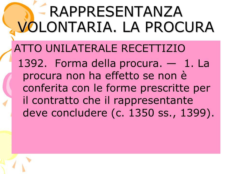 RAPPRESENTANZA VOLONTARIA.LA PROCURA ATTO UNILATERALE RECETTIZIO 1392.