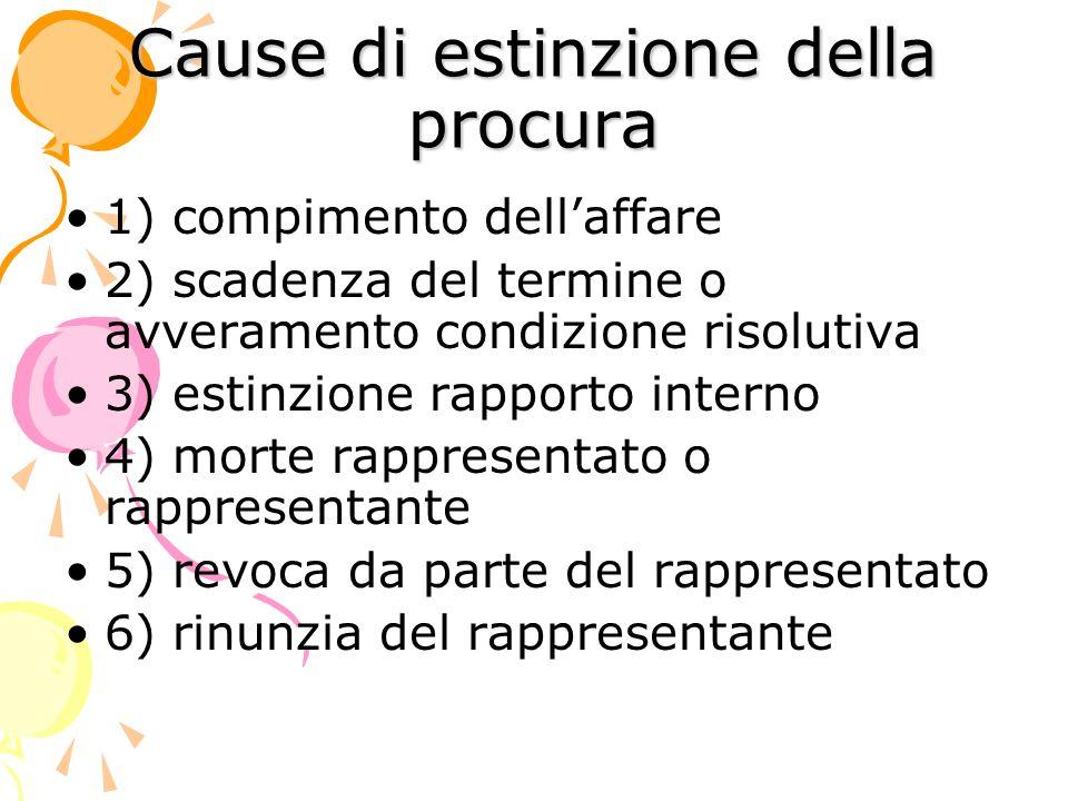 Cause di estinzione della procura 1) compimento dellaffare 2) scadenza del termine o avveramento condizione risolutiva 3) estinzione rapporto interno