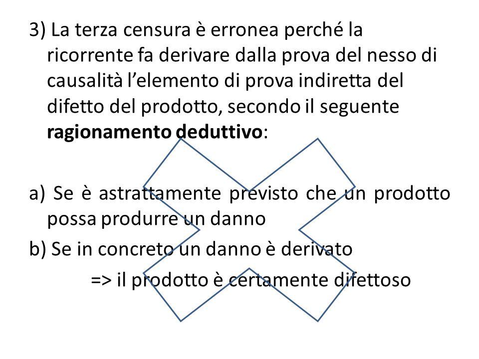 3) La terza censura è erronea perché la ricorrente fa derivare dalla prova del nesso di causalità lelemento di prova indiretta del difetto del prodotto, secondo il seguente ragionamento deduttivo: a) Se è astrattamente previsto che un prodotto possa produrre un danno b) Se in concreto un danno è derivato => il prodotto è certamente difettoso