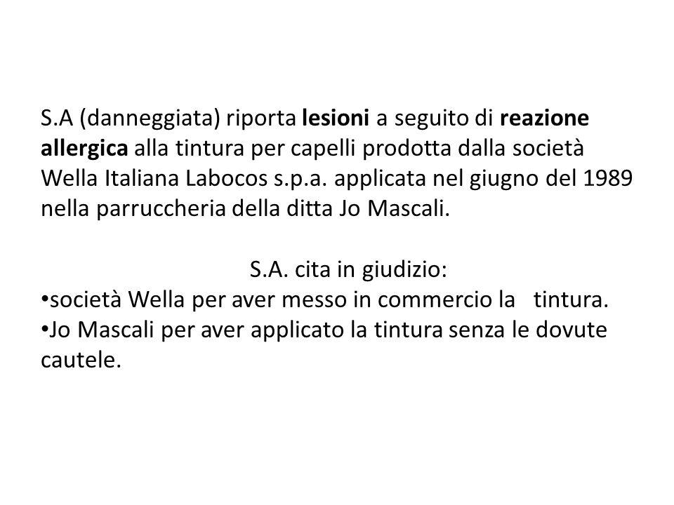 S.A (danneggiata) riporta lesioni a seguito di reazione allergica alla tintura per capelli prodotta dalla società Wella Italiana Labocos s.p.a.
