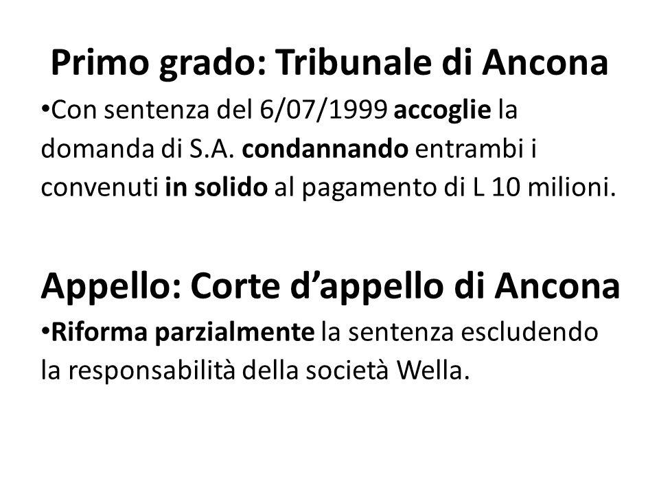 Primo grado: Tribunale di Ancona Con sentenza del 6/07/1999 accoglie la domanda di S.A.