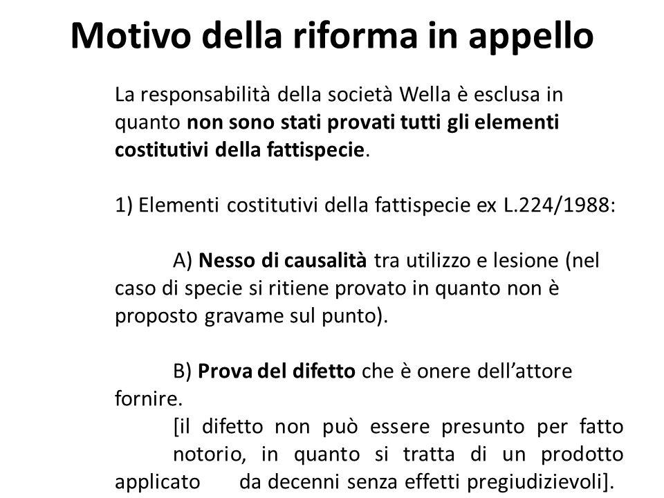 Motivo della riforma in appello La responsabilità della società Wella è esclusa in quanto non sono stati provati tutti gli elementi costitutivi della fattispecie.