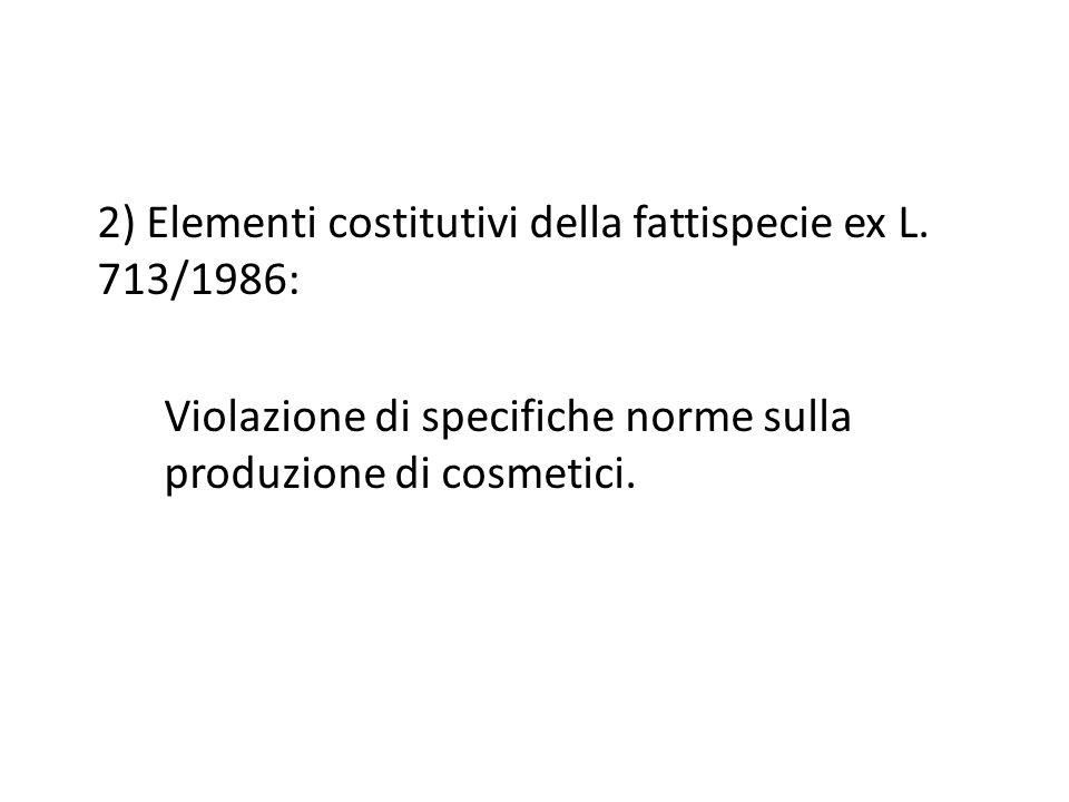 2) Elementi costitutivi della fattispecie ex L.