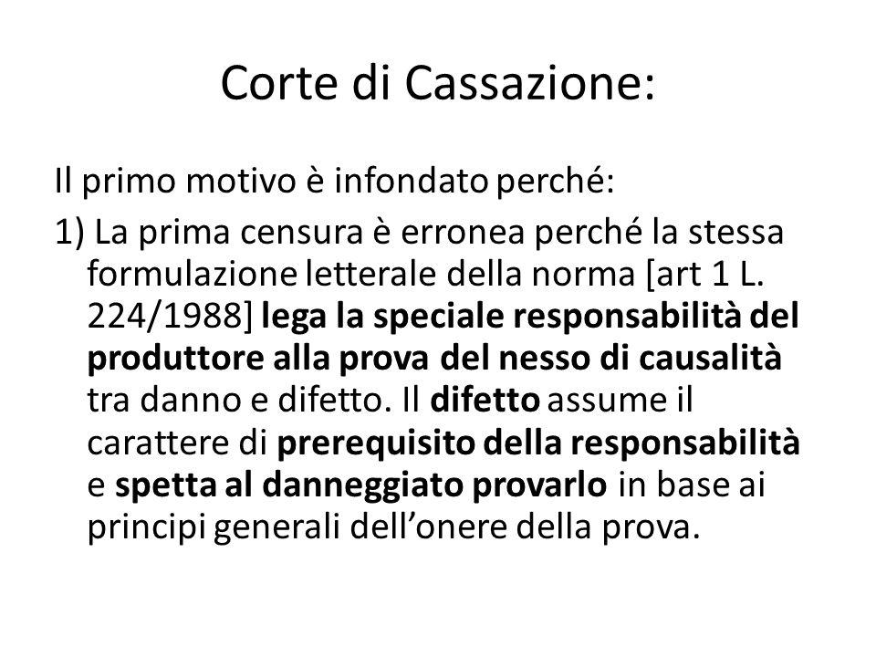 Corte di Cassazione: Il primo motivo è infondato perché: 1) La prima censura è erronea perché la stessa formulazione letterale della norma [art 1 L.