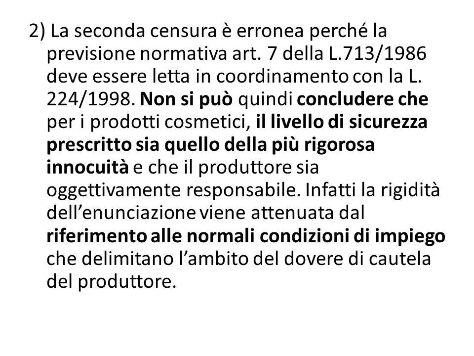 2) La seconda censura è erronea perché la previsione normativa art.
