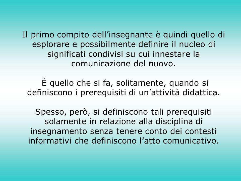 Il primo compito dellinsegnante è quindi quello di esplorare e possibilmente definire il nucleo di significati condivisi su cui innestare la comunicazione del nuovo.