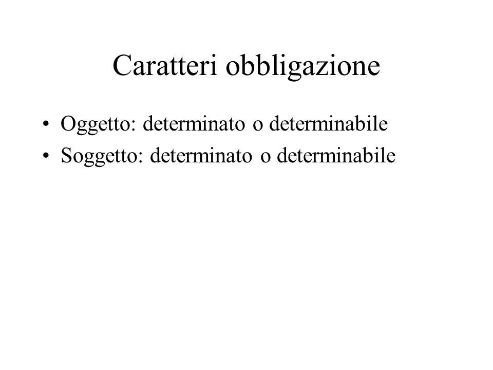 Caratteri obbligazione Oggetto: determinato o determinabile Soggetto: determinato o determinabile