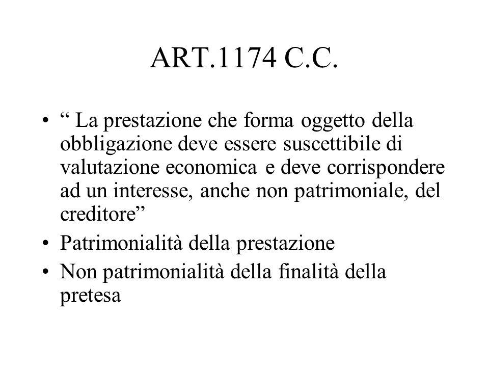 ART.1174 C.C. La prestazione che forma oggetto della obbligazione deve essere suscettibile di valutazione economica e deve corrispondere ad un interes