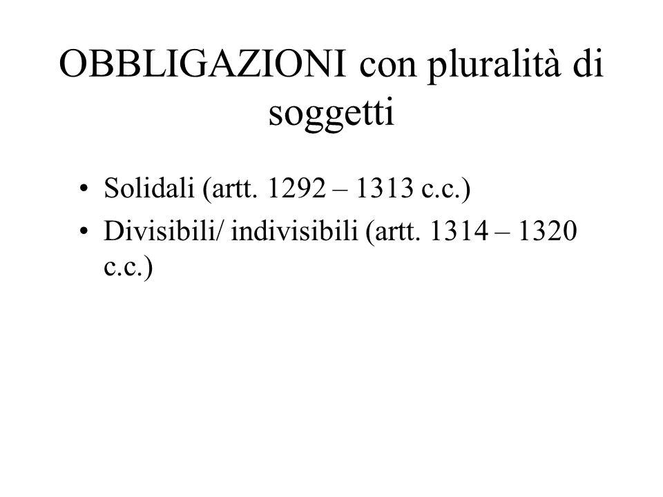 OBBLIGAZIONI con pluralità di soggetti Solidali (artt. 1292 – 1313 c.c.) Divisibili/ indivisibili (artt. 1314 – 1320 c.c.)