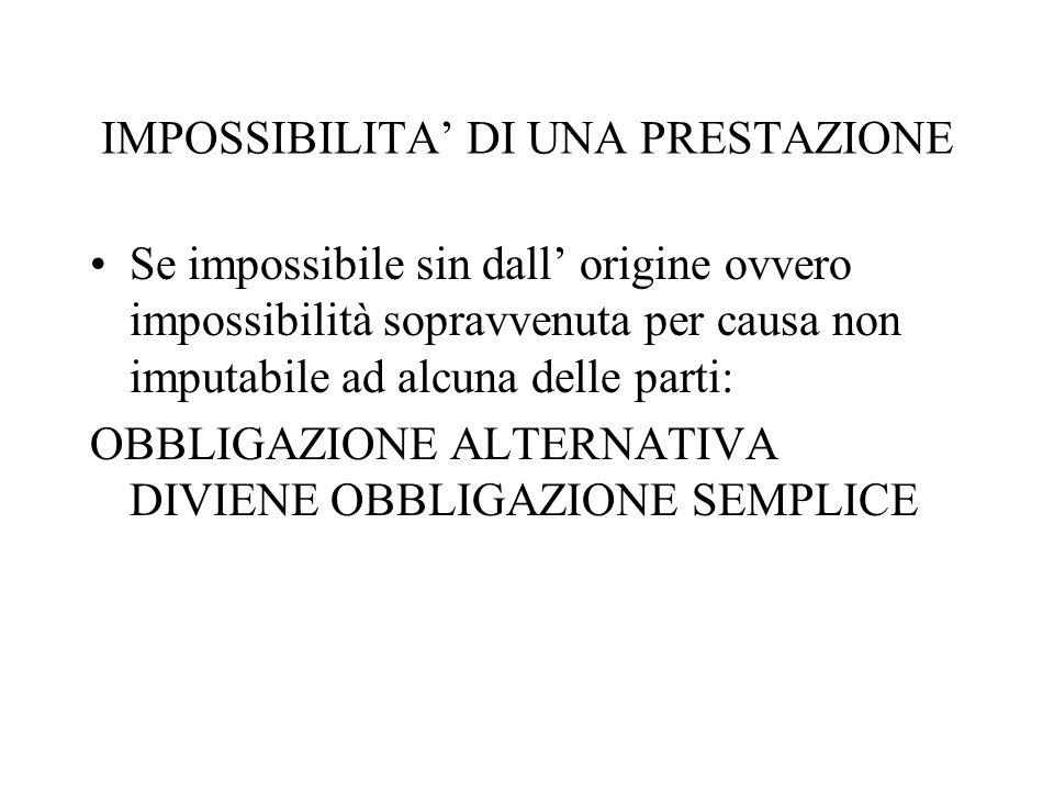 IMPOSSIBILITA DI UNA PRESTAZIONE Se impossibile sin dall origine ovvero impossibilità sopravvenuta per causa non imputabile ad alcuna delle parti: OBB