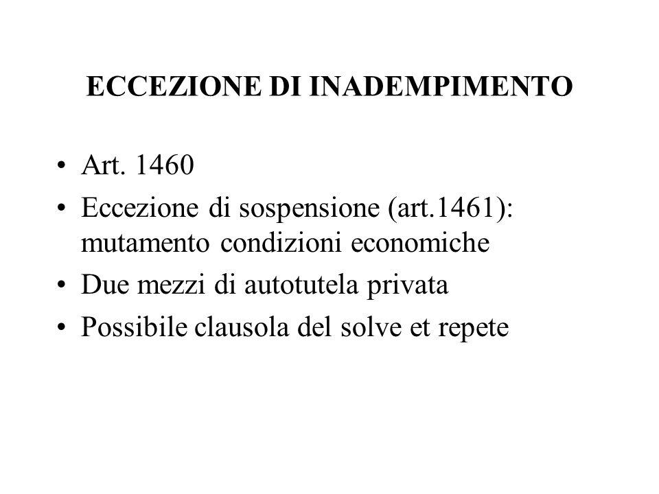 ECCEZIONE DI INADEMPIMENTO Art.