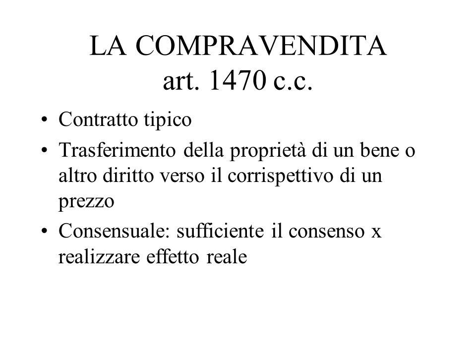 LA COMPRAVENDITA art. 1470 c.c. Contratto tipico Trasferimento della proprietà di un bene o altro diritto verso il corrispettivo di un prezzo Consensu