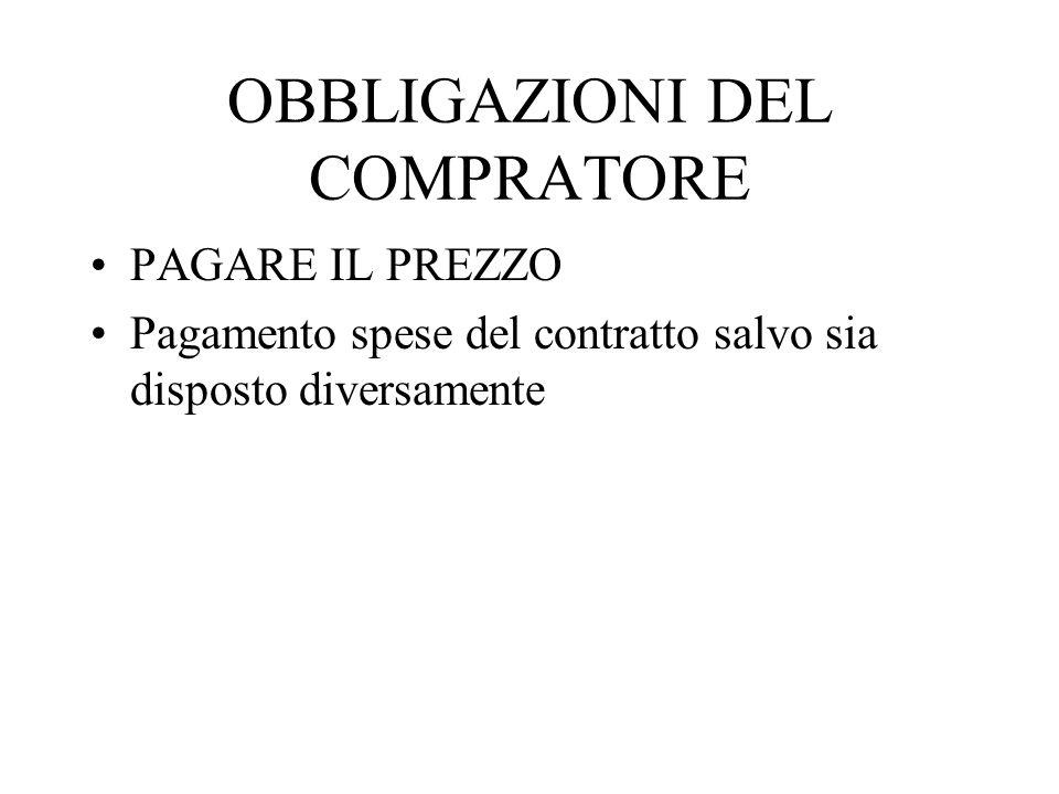OBBLIGAZIONI DEL COMPRATORE PAGARE IL PREZZO Pagamento spese del contratto salvo sia disposto diversamente