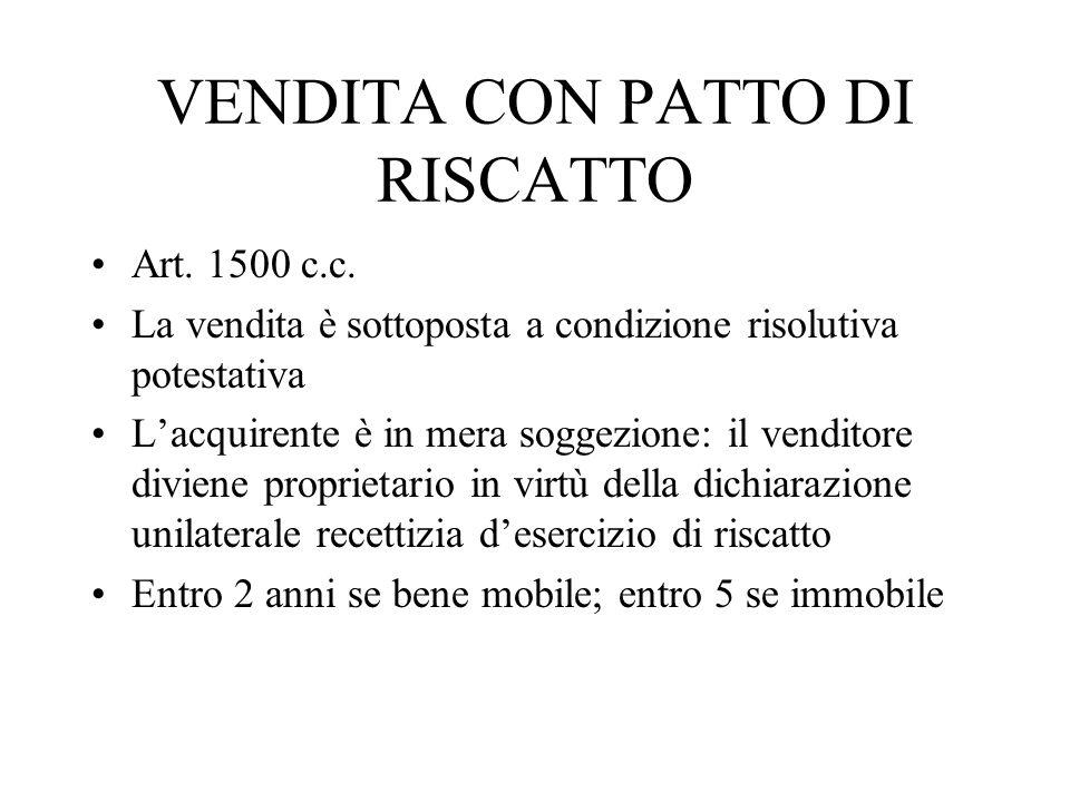 VENDITA CON PATTO DI RISCATTO Art. 1500 c.c. La vendita è sottoposta a condizione risolutiva potestativa Lacquirente è in mera soggezione: il venditor