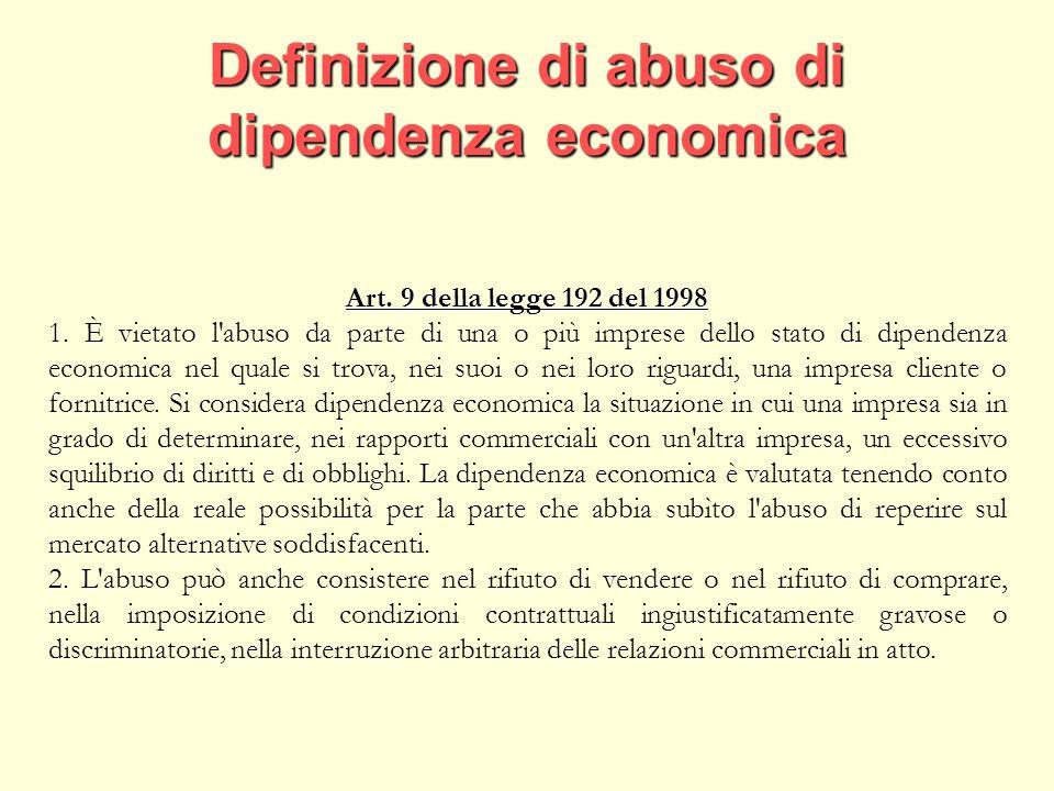 Definizione di abuso di dipendenza economica Art. 9 della legge 192 del 1998 1.