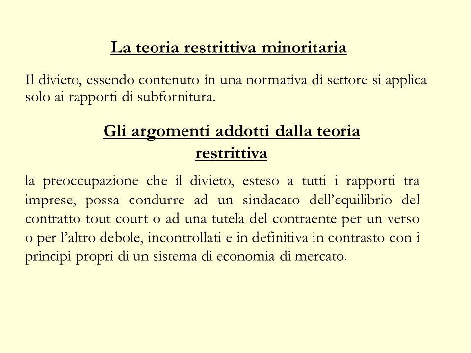 La teoria restrittiva minoritaria Il divieto, essendo contenuto in una normativa di settore si applica solo ai rapporti di subfornitura.