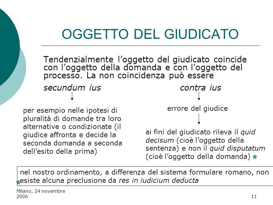 Milano, 24 novembre 200611 OGGETTO DEL GIUDICATO Tendenzialmente loggetto del giudicato coincide con loggetto della domanda e con loggetto del process