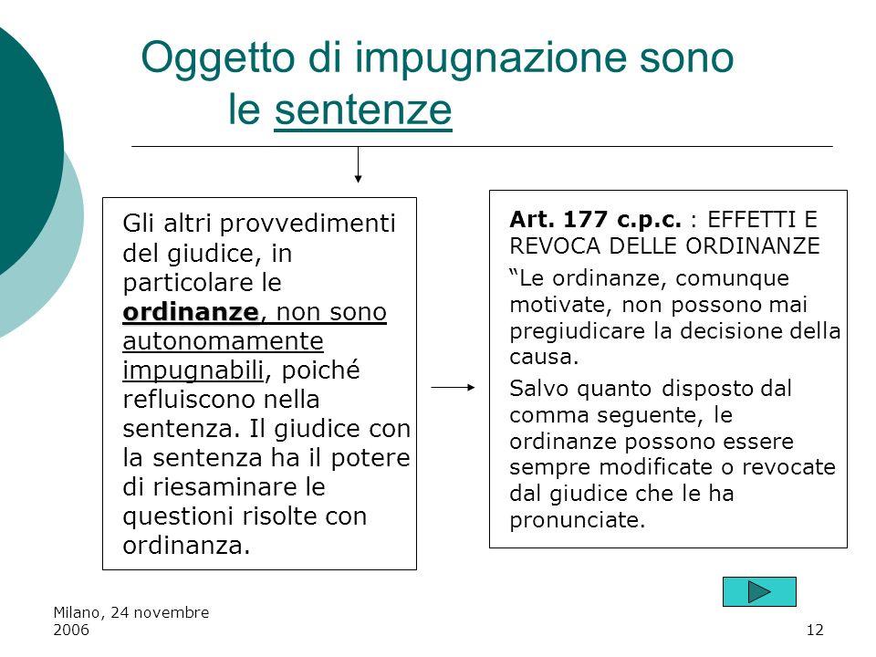Milano, 24 novembre 200612 Oggetto di impugnazione sono le sentenze ordinanze Gli altri provvedimenti del giudice, in particolare le ordinanze, non so