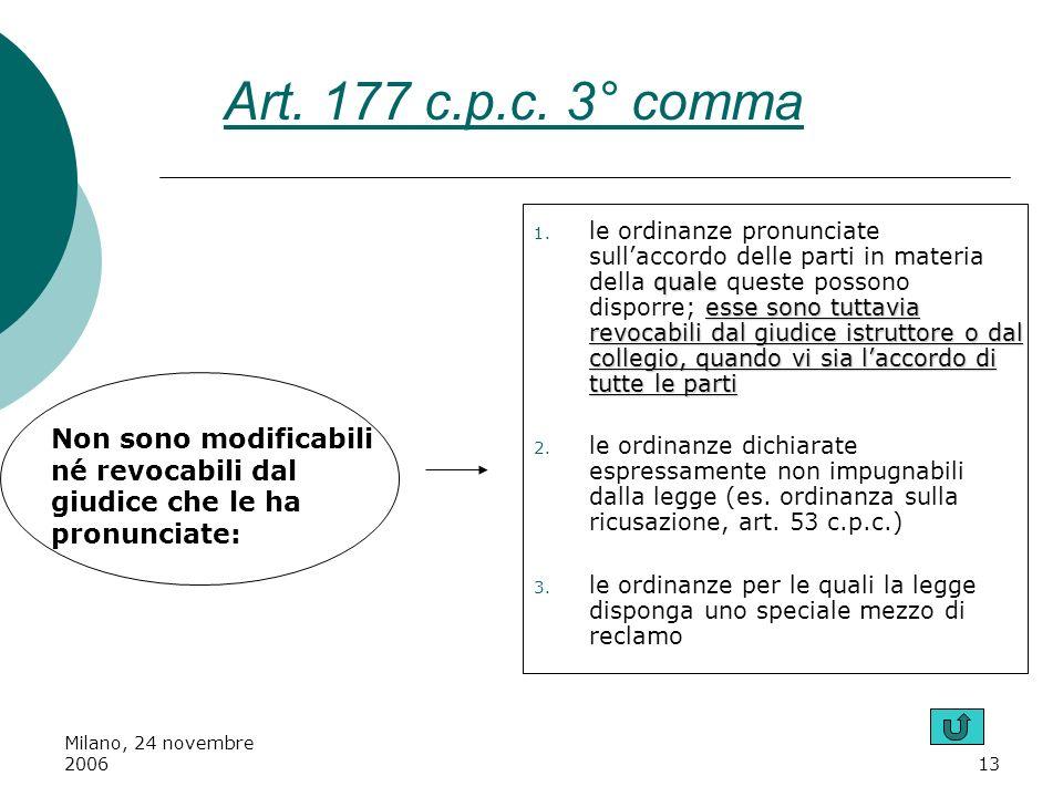 Milano, 24 novembre 200613 Non sono modificabili né revocabili dal giudice che le ha pronunciate: quale esse sono tuttavia revocabili dal giudice istr