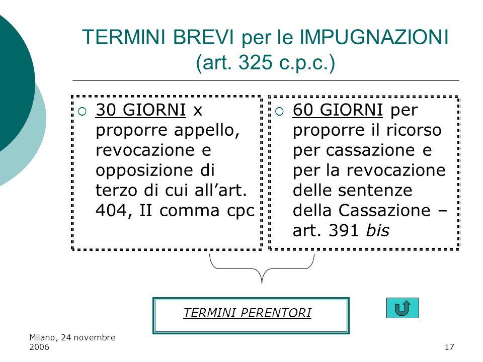 Milano, 24 novembre 200617 TERMINI BREVI per le IMPUGNAZIONI (art. 325 c.p.c.) 30 GIORNI x proporre appello, revocazione e opposizione di terzo di cui