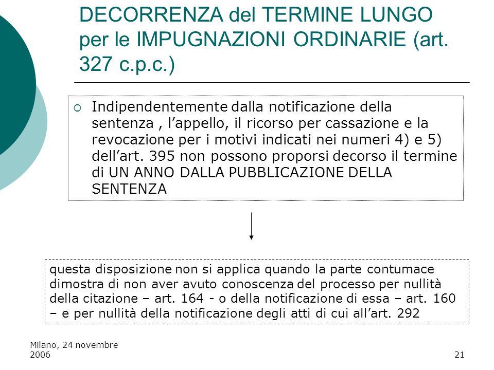 Milano, 24 novembre 200621 DECORRENZA del TERMINE LUNGO per le IMPUGNAZIONI ORDINARIE (art. 327 c.p.c.) Indipendentemente dalla notificazione della se