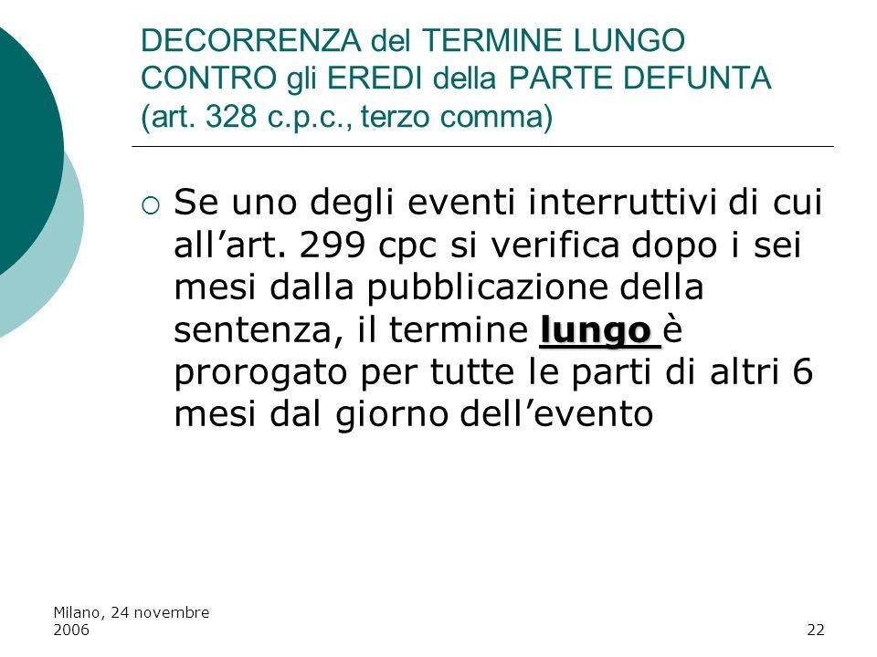 Milano, 24 novembre 200622 DECORRENZA del TERMINE LUNGO CONTRO gli EREDI della PARTE DEFUNTA (art. 328 c.p.c., terzo comma) lungo Se uno degli eventi