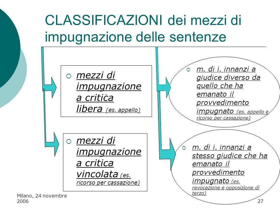 Milano, 24 novembre 200627 CLASSIFICAZIONI dei mezzi di impugnazione delle sentenze mezzi di impugnazione a critica vincolata (es. ricorso per cassazi