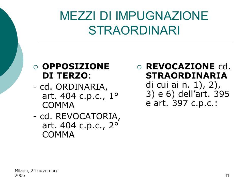 Milano, 24 novembre 200631 MEZZI DI IMPUGNAZIONE STRAORDINARI OPPOSIZIONE DI TERZO: - cd. ORDINARIA, art. 404 c.p.c., 1° COMMA - cd. REVOCATORIA, art.