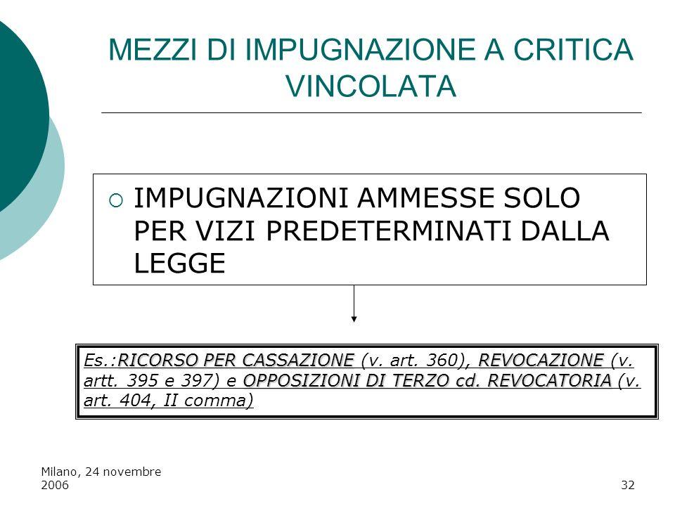 Milano, 24 novembre 200632 MEZZI DI IMPUGNAZIONE A CRITICA VINCOLATA IMPUGNAZIONI AMMESSE SOLO PER VIZI PREDETERMINATI DALLA LEGGE RICORSO PER CASSAZI