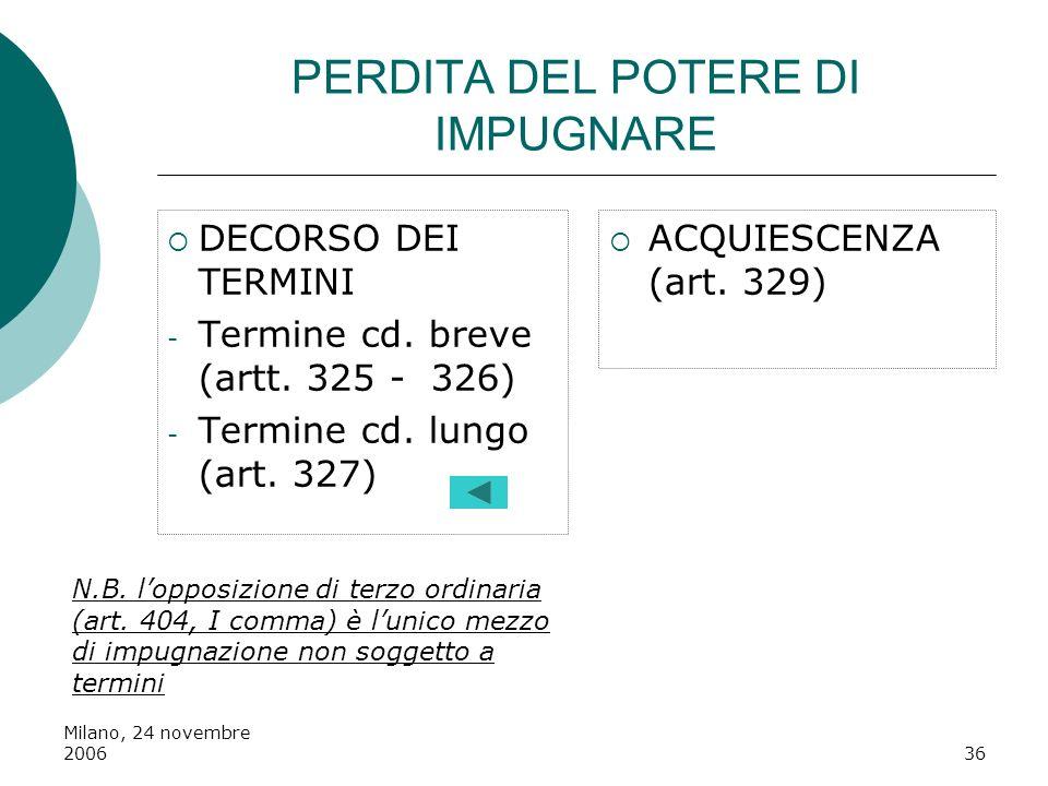 Milano, 24 novembre 200636 PERDITA DEL POTERE DI IMPUGNARE DECORSO DEI TERMINI - Termine cd. breve (artt. 325 - 326) - Termine cd. lungo (art. 327) AC