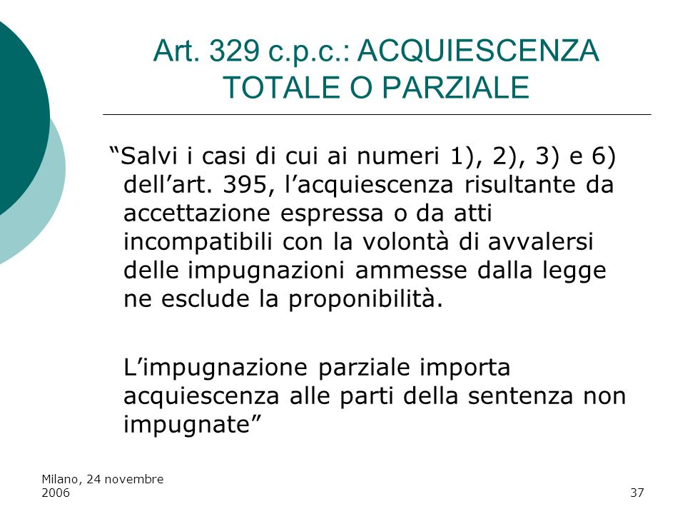 Milano, 24 novembre 200637 Art. 329 c.p.c.: ACQUIESCENZA TOTALE O PARZIALE Salvi i casi di cui ai numeri 1), 2), 3) e 6) dellart. 395, lacquiescenza r