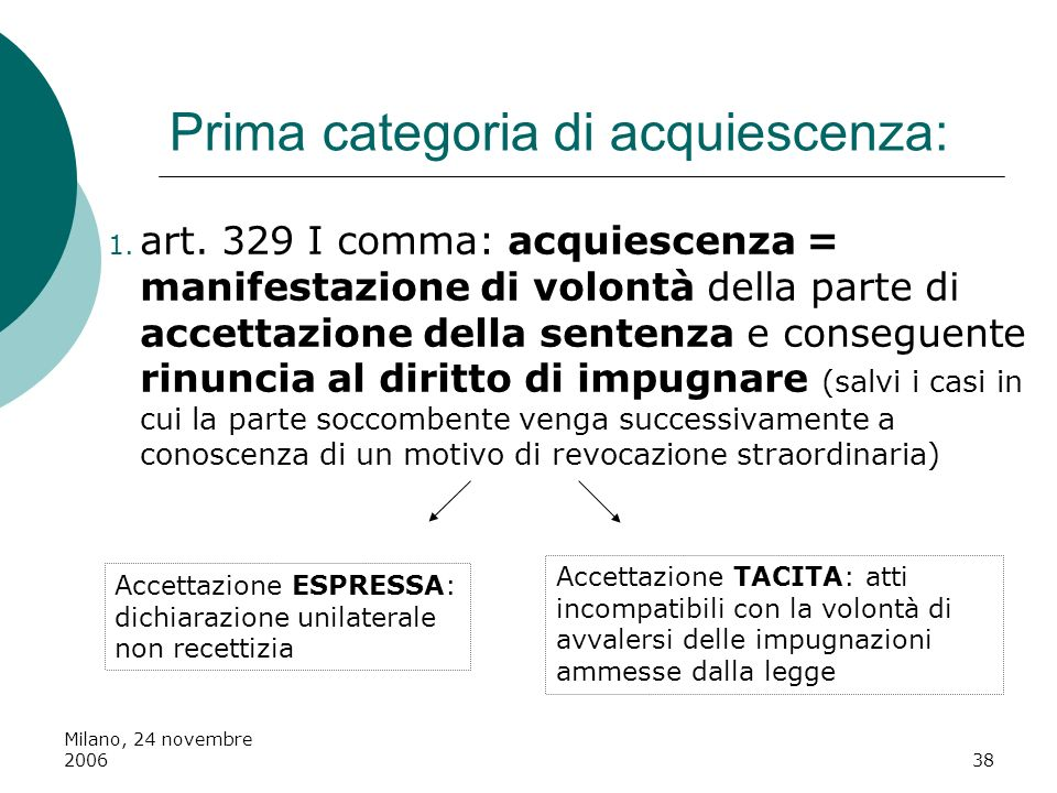 Milano, 24 novembre 200638 Prima categoria di acquiescenza: 1. art. 329 I comma: acquiescenza = manifestazione di volontà della parte di accettazione